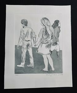 """Raphael Soyer Etching Signed Numbered """"Holding Hand"""" Near Mint"""