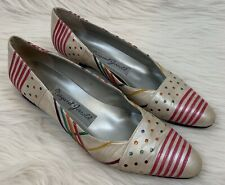 Vtg Margaret Jerrold Gray Leather Rainbow Stripes & Polka-Dots Shoes Heels 10 S