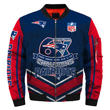New England Patriots Pilot Bomber Jacket MA1 Flight Thick Coat Football Outwear