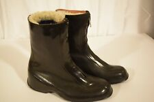 Rubber Zipper Front Army Issue Galoshes Overboot Gumshoe Sz 8 with kamik Liner