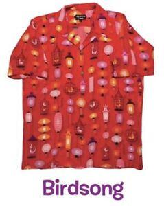 Shag Tiki Week Birdsong Hawaiian Aloha Shirt sz Medium LE 100% Silk