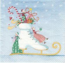 2 Serviettes en papier Patin de Noël Botte Paper Napkins Christmas Skate