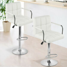 Set of 2 Height Adjustable Leather Swivel Pub Style Gas Lift Bar Stools Barstool