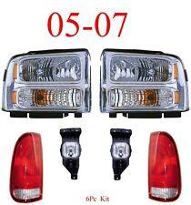 05 07 Ford Super Duty 6Pc Head, Fog & Tail Light Kit Chrome F250 F350 F450