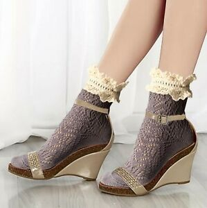 Women's cotton ankle boot socks with off white wide ruffled frilly vintage lace