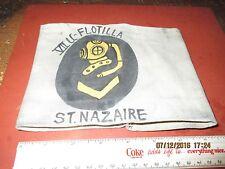 WWII GERMAN NAVY HARDHAT DIVER 7 TH U-BOAT FLOTILLA ARMBAND ST NAZAIRE  FRANCE