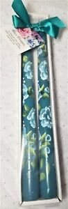 "Tapered Candle Sticks Dark Aqua Blue Roses & Buds Hand Painted 10"" Set Of 2"