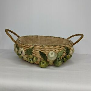 Vintage Seagrass Basket Hand Woven Rafia Straw Fruits, Rope Handles,Burlap Lined