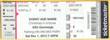 2012 Donny & Marie Osmond concert ticket Gammage Tempe Arizona brothers 12/1/12