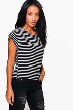 Boohoo Polyester Short Sleeve Striped T-Shirts for Women