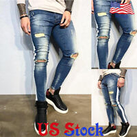 Men's Tight Ripped Destroyed Jeans Straight Slim Fit Denim Pants Trousers Skinny