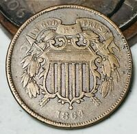 1864 Two Cent Piece 2C Ungraded Good Date Civil War Era US Copper Coin CC5627