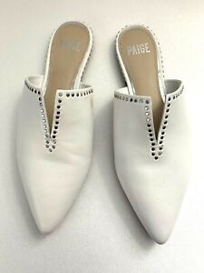 $278 PAIGE Size 7 Alia White Leather And Silver Stud Mules Shoes Slip On Flats