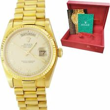 UNPOLISHED Rolex Day-Date President 36 Roman Numeral 18K Yellow Gold Watch 18038