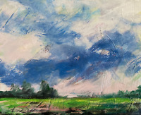 Sunny Meadows Dirt Tract Painting Impressionist LANDSCAPE Sky Trees Collectable