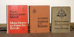 3 ALTE BÜCHER MASCHINENBAU VON 1923 MECHANIKER SCHLOSSER METALL WERKZEUGMACHER