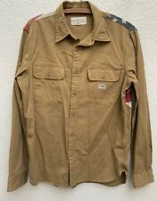 Ralph Lauren Denim and Supply Distressed American Flag Khaki Shirt l