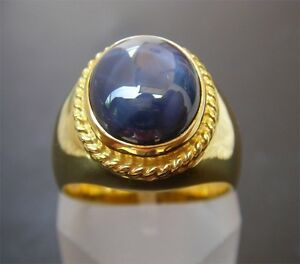 Men's 18K Solid Gold Blue Sapphire Ring