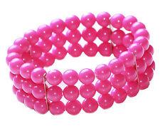 Girls' Fun Triple Fuschia/ Pink  Statement Bracelet Set Unique(Zx63/162/226)