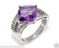 Amethyst Granat Peridot Ring 925 Echt Silber / Top Geschenkidee Gr. 52