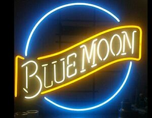 "19""x15""Blue Moon Neon Sign Light Tiki Bar Pub Nightlight Wall Decor Real Glass"