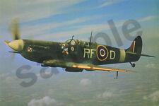 aviation art Polish pilot RAF Jan Zumbach 303 Squadron WW2 photo Spitfire