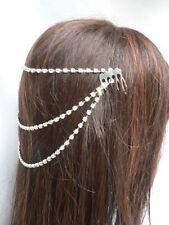 NEW WOMEN SILVER HEAD METAL CHAIN FASHION JEWELRY 3 DROPS RHINESTONES HAIR CLIPS