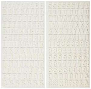 """American Crafts Thickers 5.5""""x11"""" Rockabye Foam Stickers Alphabet Numbers White"""
