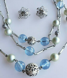 Triple-strand beaded necklace and earrings set silver filigree ice blue beads