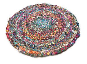 Round Multicoloured Woven Plaited Chindi Rug Braided Fabric Cotton Bright Mat