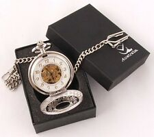 "Exceptional Mirror Finish silver Plated Mechanical Watch Open Back """"FREE POST"""""
