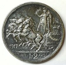 Vittorio Emanuele III 2 Lire 1917 Quadriga Briosa in bb