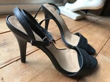 ❤️ Sexy NEW LOOK Black Faux Leather Ankle Strap Tie Stiletto Heels UK7 EU40