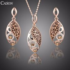 Fashion Women Rose Gold Leopard Austrian Crystal Earrings & Necklace Jewelry Set