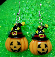UNIQUE PUMPKIN WITCH HAT STARS SCARY 925 EARRINGS HALLOWEEN Nora's