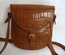 REGENT Hand Made Brown crocodile print leather Satchel Sella Borsa A Tracolla
