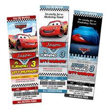 12 designs ! CARS DISNEY MCQUEEN 1 2 BIRTHDAY PARTY INVITATION TICKET 1ST - n4