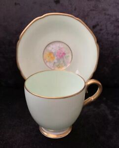"""Vintage Paragon """"Smiling June"""" Coffee Cup & Saucer - Green"""