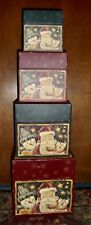 "BOB'S BOXES SET OF 4 NESTING/STACKING BOXES, PRIMITIVE ""HOLIDAY COMPANIONS"""