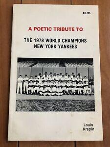 Yankee Stadium Memorabilia:1978 New York Yankees World Champions Poetic Tribute