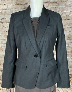 Ann Taylor Petite Suit Jacket Blazer Rayon/Wool Blend ~ Women's 8P Short / Grey