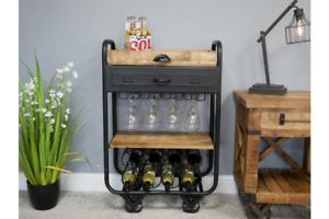 Industrial Wine Trolley Wine Bottle Storage Wine Cabinet Wine Rack 6359