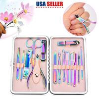 15pcs Stainless Steel Manicure Tool Set Nails Care Clipper Scissors Pedicure Kit