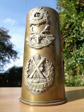 TRENCH ART Style Brass Vase with FIVE British CAP BADGES