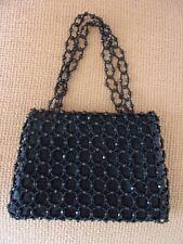 Small Black beaded Bag Pocketbook Handbag with handle