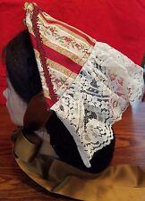 Lady's Civil War Reproduction Fanchon Ruby & Dark Gold Half-Bonnet Dinner Bonnet