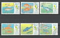 Peces Laos (63) serie completo de 6 sellos matasellados