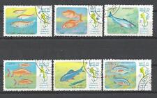 Poissons Laos (63) série complète de 6 timbres oblitérés