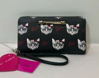 NEW BETSEY JOHNSON Zip Around Wallet Wristlet Dark Gray Kitty Cats Clutch NWT