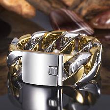 "Heavy 170g Silver Gold 316L Stainless Steel Men's Curb Cuban Bracelet 8.5""x24mm"